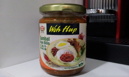 "WOH HUP - my favourite brand of ready-bottled sambal ikan bilis chilli paste  ('Ikan Blis"" means 'anchovies' in Malay)"